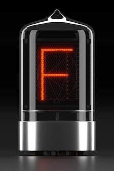 """Wskaźnik rurkowy nixie, wskaźnik wyładowania lampy na ciemnej powierzchni. litera """"f"""" w stylu retro. renderowanie 3d."""