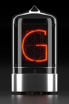 """Wskaźnik rurkowy nixie, wskaźnik wyładowania lampy na ciemnej powierzchni. litera """"g"""" w stylu retro. renderowanie 3d."""