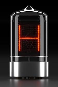 """Wskaźnik rurkowy nixie, wskaźnik wyładowania lampy na ciemnej powierzchni. litera """"h"""" w stylu retro. renderowanie 3d."""