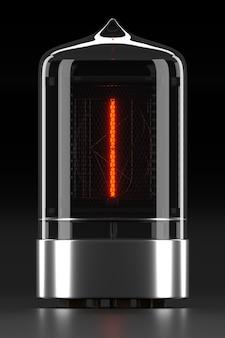 """Wskaźnik rurkowy nixie, wskaźnik wyładowania lampy na ciemnej powierzchni. litera """"i"""" w stylu retro. renderowanie 3d."""