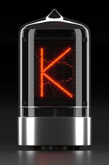 """Wskaźnik rurkowy nixie, wskaźnik wyładowania lampy na ciemnej powierzchni. litera """"k"""" w stylu retro. renderowanie 3d."""