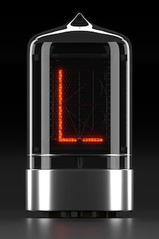 """Wskaźnik rurkowy nixie, wskaźnik wyładowania lampy na ciemnej powierzchni. litera """"l"""" w stylu retro. renderowanie 3d."""