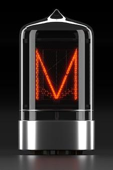 """Wskaźnik rurkowy nixie, wskaźnik wyładowania lampy na ciemnej powierzchni. litera """"m"""" w stylu retro. renderowanie 3d."""