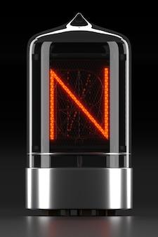 """Wskaźnik rurkowy nixie, wskaźnik wyładowania lampy na ciemnej powierzchni. litera """"n"""" w stylu retro. renderowanie 3d."""