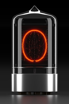 """Wskaźnik rurkowy nixie, wskaźnik wyładowania lampy na ciemnej powierzchni. litera """"o"""" w stylu retro. renderowanie 3d."""