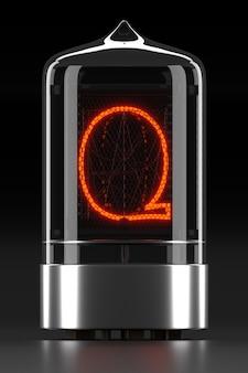 """Wskaźnik rurkowy nixie, wskaźnik wyładowania lampy na ciemnej powierzchni. litera """"q"""" w stylu retro. renderowanie 3d."""