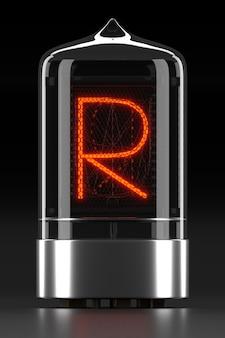 """Wskaźnik rurkowy nixie, wskaźnik wyładowania lampy na ciemnej powierzchni. litera """"r"""" w stylu retro. renderowanie 3d."""