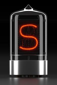 """Wskaźnik rurkowy nixie, wskaźnik wyładowania lampy na ciemnej powierzchni. litera """"s"""" w stylu retro. renderowanie 3d."""