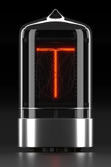 """Wskaźnik rurkowy nixie, wskaźnik wyładowania lampy na ciemnej powierzchni. litera """"t"""" w stylu retro. renderowanie 3d."""