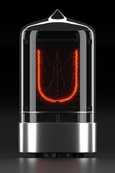 """Wskaźnik rurkowy nixie, wskaźnik wyładowania lampy na ciemnej powierzchni. litera """"u"""" w stylu retro. renderowanie 3d."""