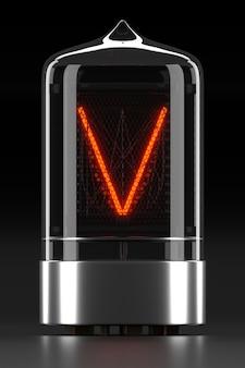"""Wskaźnik rurkowy nixie, wskaźnik wyładowania lampy na ciemnej powierzchni. litera """"v"""" w stylu retro. renderowanie 3d."""