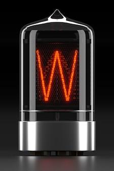 """Wskaźnik rurkowy nixie, wskaźnik wyładowania lampy na ciemnej powierzchni. litera """"w"""" w stylu retro. renderowanie 3d."""