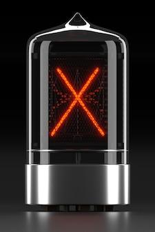 """Wskaźnik rurkowy nixie, wskaźnik wyładowania lampy na ciemnej powierzchni. litera """"x"""" w stylu retro. renderowanie 3d."""