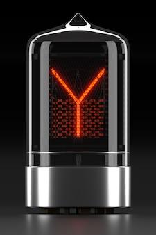 """Wskaźnik rurkowy nixie, wskaźnik wyładowania lampy na ciemnej powierzchni. litera """"y"""" w stylu retro. renderowanie 3d."""