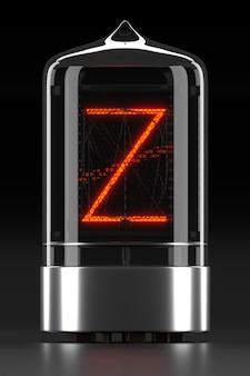 """Wskaźnik rurkowy nixie, wskaźnik wyładowania lampy na ciemnej powierzchni. litera """"z"""" w stylu retro. renderowanie 3d."""