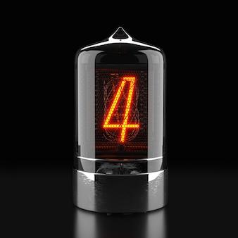 Wskaźnik rurkowy nixie, wskaźnik wyładowania lampy na ciemnej powierzchni. numer cztery w stylu retro. renderowanie 3d.