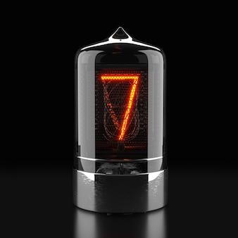 Wskaźnik rurkowy nixie, wskaźnik wyładowania lampy na ciemnej powierzchni. numer siedem w stylu retro. renderowanie 3d.