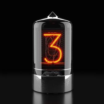 Wskaźnik rurkowy nixie, wskaźnik wyładowania lampy na ciemnej powierzchni. numer trzy w stylu retro. renderowanie 3d.