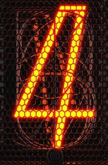 Wskaźnik rurkowy nixie, zbliżenie wskaźnika wyładowania lampy. numer cztery w stylu retro. renderowanie 3d.