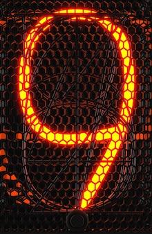 Wskaźnik rurkowy nixie, zbliżenie wskaźnika wyładowania lampy. numer dziewięć w stylu retro. renderowanie 3d.