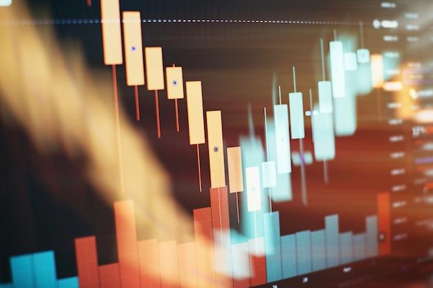 Wskaźniki z analizą objętości do profesjonalnej analizy technicznej na monitorze komputera. koncepcja analizy fundamentalnej i technicznej.