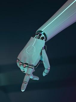 Wskazywanie palcem dłoni robota, technologia sztucznej inteligencji