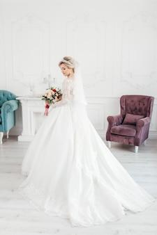 Wspaniała panna młoda w sukni ślubnej