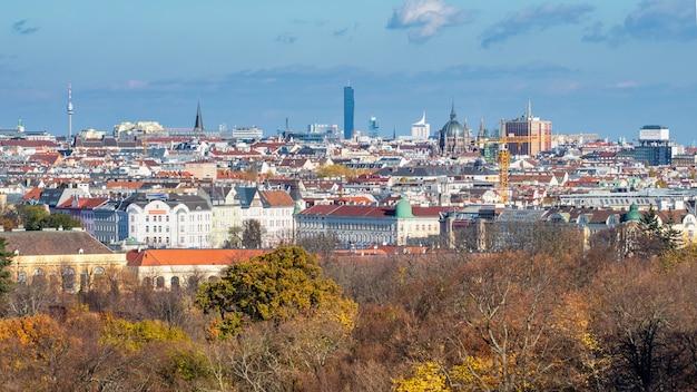 Wspaniały krajobraz miejski z dachami zabytkowych i nowoczesnych budynków w wiedniu, austria z jesiennymi drzewami bez liści na czele na niebieskim, pochmurnym tle.