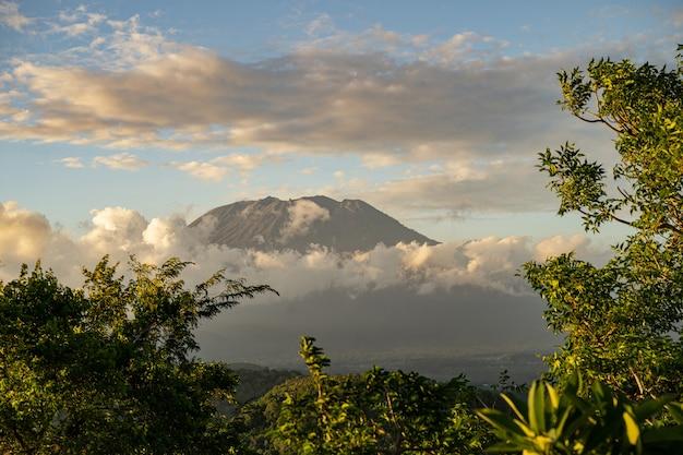 Wspaniały krajobraz zielonych drzew z wulkanem otoczony gęstymi chmurami stock photo