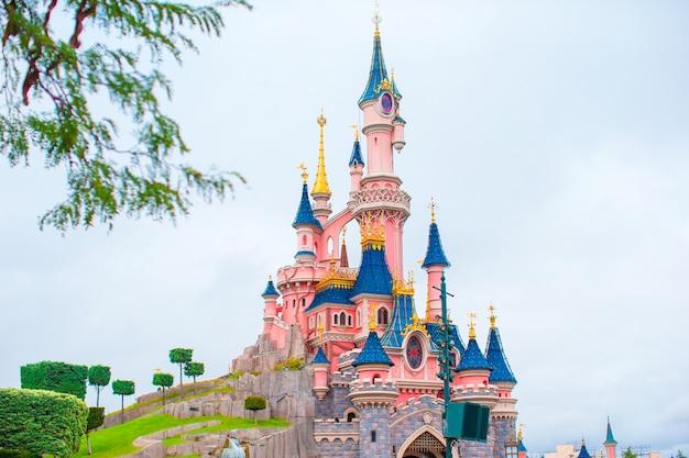 Wspaniały magiczny zamek księżniczki w bajkowym parku