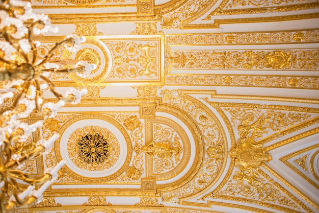 Wspaniały sufit w jednej z sal hermitage w petersburgu.