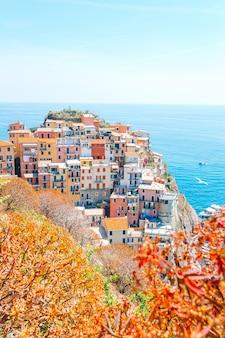 Wspaniały widok na piękną i przytulną wioskę manarola w rezerwacie cinque terre
