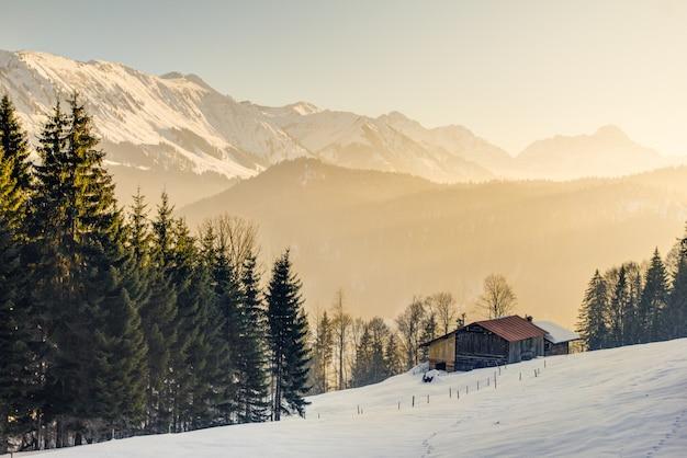 Wspaniały widok z drewnianej kabiny na alpejskie góry