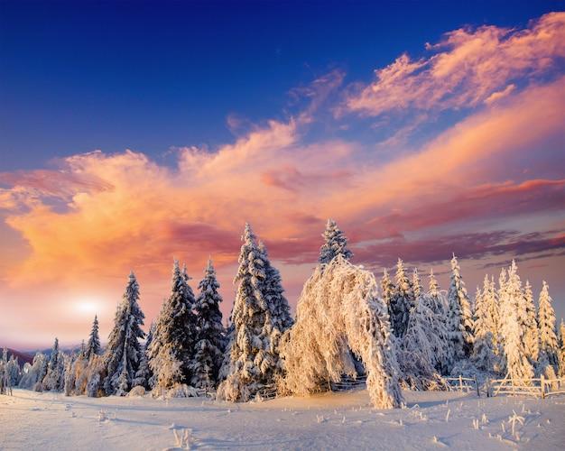 Wspaniały zachód słońca w górach