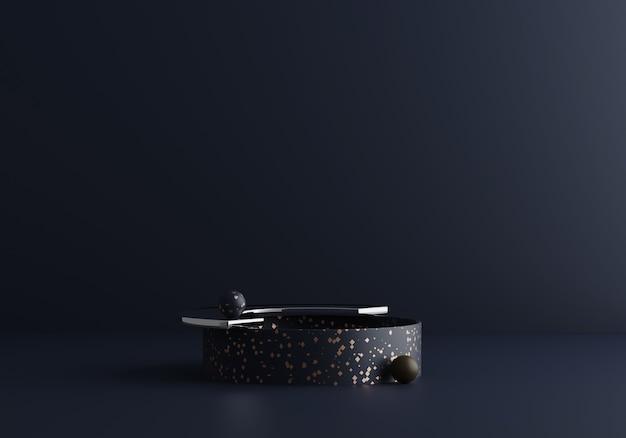 Współczesna nowoczesna kompozycja absract w ciemnoniebieskich odcieniach z lastryko i szkłem. modny redner 3d