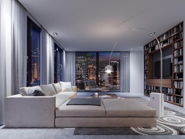 Współczesne apartamenty z dużą białą sofą przy panoramicznym oknie z fotelem i designerską lampą podłogową. renderowania 3d.