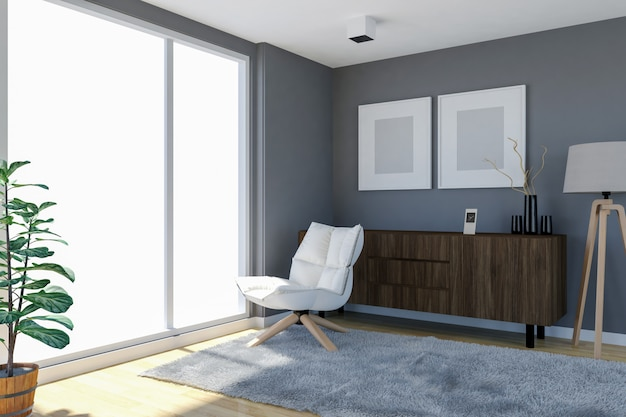 Współczesne wnętrze salonu z szarymi ścianami i dużymi oknami, 3d rendering