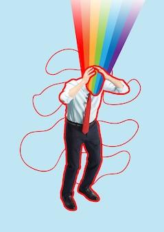 Współczesny kolaż sztuki współczesnej o biznesmenie z koncepcją uruchomienia teczki