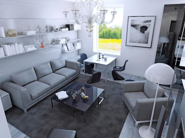 Współczesny salon w świetle dziennym. pokój ze stołem jadalnym w stylu gotyckim. jasnoszare meble, dywan w kolorze mokrego asfaltu na podłodze laminowanej, białe ściany. renderowania 3d