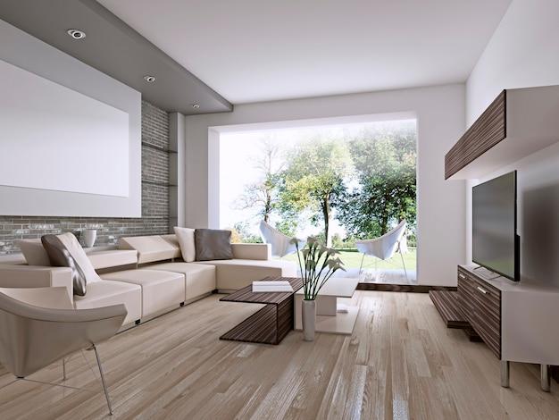 Współczesny salon z dużym oknem wychodzącym na podwórko. renderowanie 3d