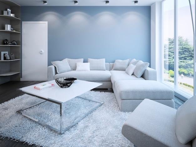 Współczesny salon z niebieskimi ścianami