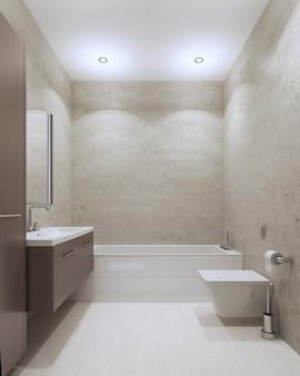 Współczesny styl łazienki z sufitami i ścianami z tynku strukturalnego, meble w kolorze ciemnoszarym
