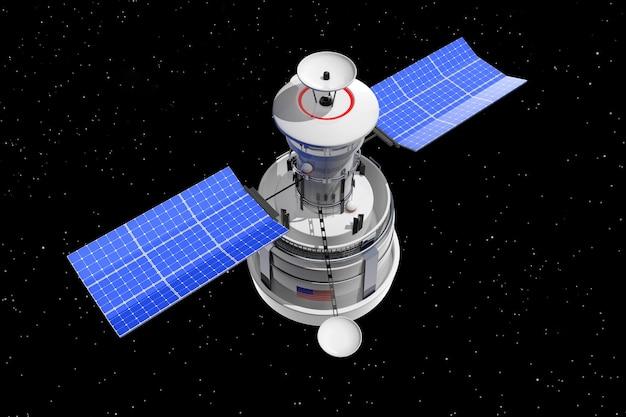 Współczesny świat globalnej nawigacji satelitarnej na tle przestrzeni nieba star. renderowanie 3d