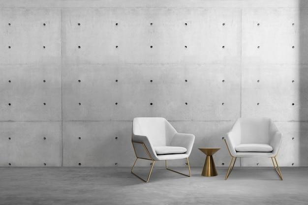 Współczesny wystrój wnętrza salonu z luksusowym fotelem