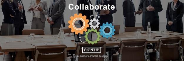 Współpraca collaborate connection koncepcja korporacyjna