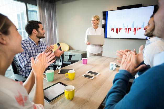Współpracownicy oklaskują kolegę po prezentacji