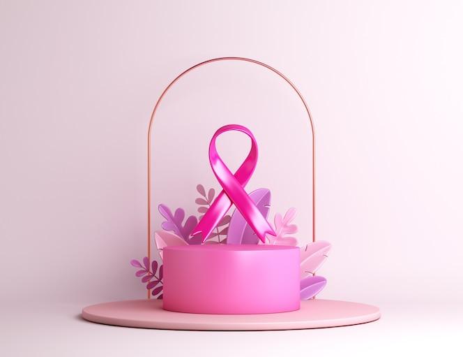 wstążka świadomości raka piersi z tłem dekoracji podium