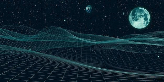 Wszechświat siatka fantazyjne niebo i struktury cyfrowe
