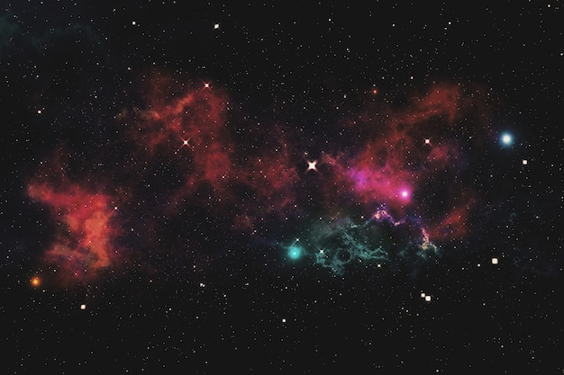 Wszechświat wypełniony gwiazdami, mgławicą i galaktyką 3d ilustracją