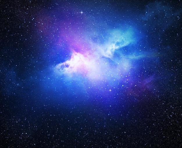 Wszechświat wypełniony gwiazdami, mgławicą i galaktyką